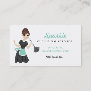 Cleaning services business cards zazzle cleaning maid service character featherduster business card colourmoves