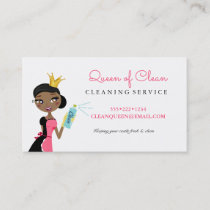 Cleaning Maid Service Ethnic Character Crown Business Card