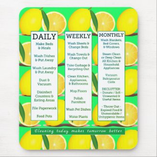 Cleaning Schedule & Affirmation Lemon Fresh Mouse Pad