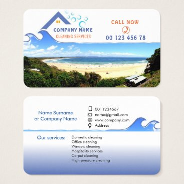 Beach Themed Cleaning service business card