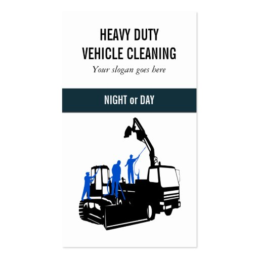 Cleaning Service heavy duty vehicles Business Card Templates