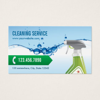 Cleaning Service Professional Blue Water Bubbles Business Card