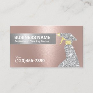 Cleaning Service Rose Gold & Silver Maid Business Card
