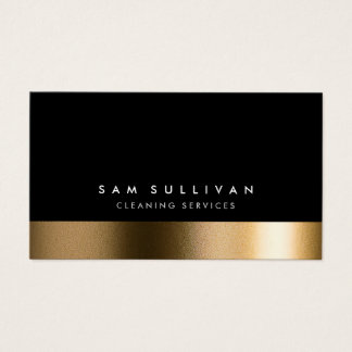 Cleaning Services Bold Black Elegant Gold Business Card