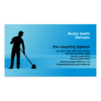 Cleaning Services Business Card Man Mopping