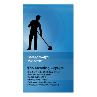 Cleaning Services Business Card Man With Mop