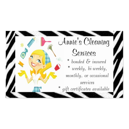 Cleaning services maid business card : Zazzle
