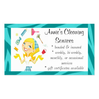 Cleaning services maid business card blue