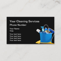 Cleaning Supplies Design With Mop Bucket Business Card