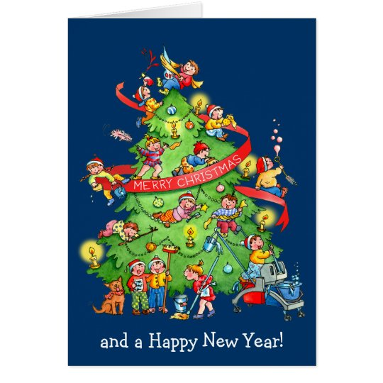 Cleaning The Christmas Tree Holidays Greeting Card