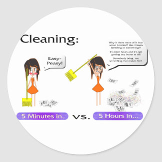 Cleaning woes classic round sticker