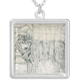 Cleanse Wolf Square Pendant Necklace