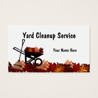 Cleanup Autumn Leave Raking Service Business Card