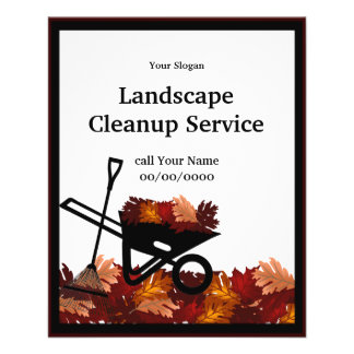Cleanup Autumn Leave Raking Service Event Flyer