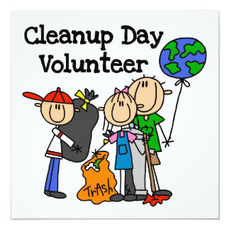 Cleanup Day Volunteer T-shirts and Gifts 5.25x5.25 Square Paper Invitation Card