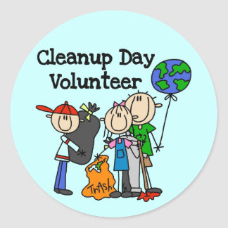 Cleanup Day Volunteer T-shirts and Gifts Round Sticker