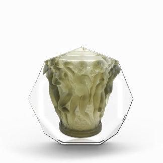 Clear Art Deco glass vase with female dancers. Acrylic Award