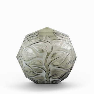 Clear Art Deco glass vase with flower design. Acrylic Award