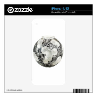 Clear Art Deco vase with etched black design. Decals For iPhone 4