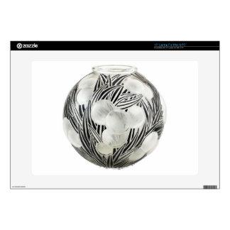 Clear Art Deco vase with etched black design. Laptop Skin