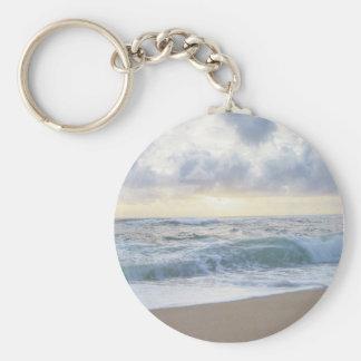 Clear Beach Day Basic Round Button Keychain