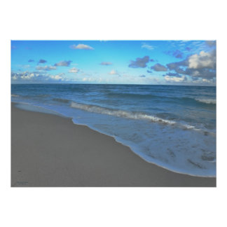 Clear Blue Ocean, Beach and Sky Poster
