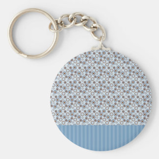 Clear blue rays with the circles basic round button keychain