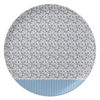 Clear blue rays with the circles melamine plate