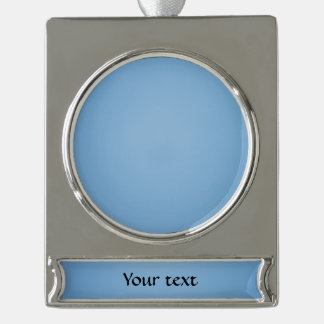 Clear blue sky photo template silver plated banner ornament