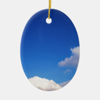 Clear Blue Sky & White Clouds Ceramic Ornament