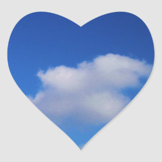 Clear Blue Sky & White Clouds Heart Sticker