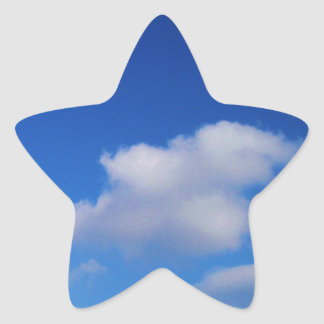 Clear Blue Sky & White Clouds Star Sticker
