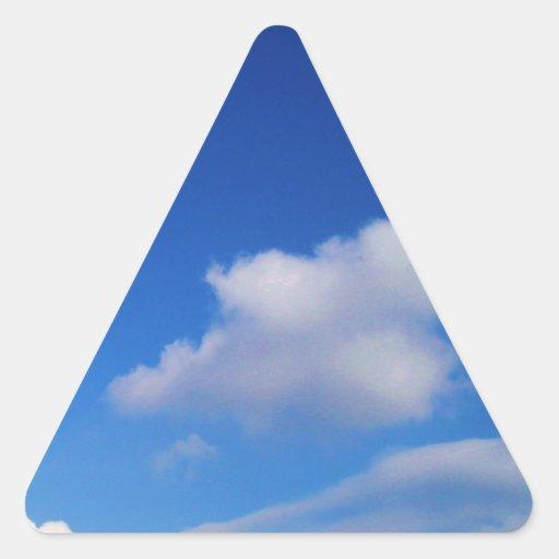 Clear Blue Sky & White Clouds Triangle Sticker