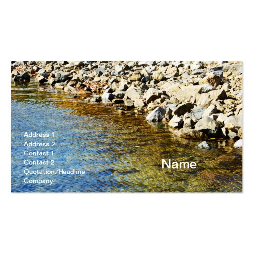 clear blue stream by a rocky waters edge business cards