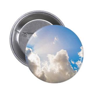 Clear Blue Sunburst Pinback Button