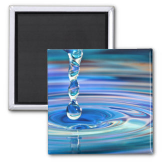 Clear Blue Water Drops Flowing 2 Inch Square Magnet