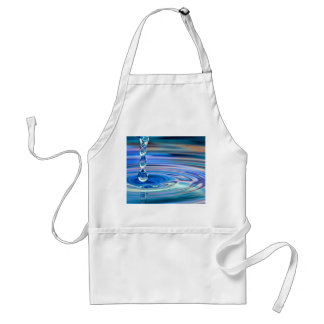 Clear Blue Water Drops Flowing Adult Apron
