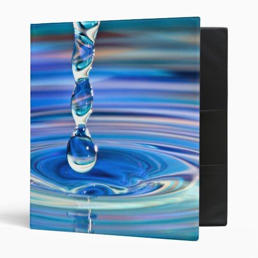Clear Blue Water Drops Flowing Binder