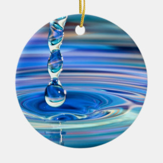 Clear Blue Water Drops Flowing Double-Sided Ceramic Round Christmas Ornament
