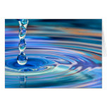 Clear Blue Water Drops Flowing Greeting Card
