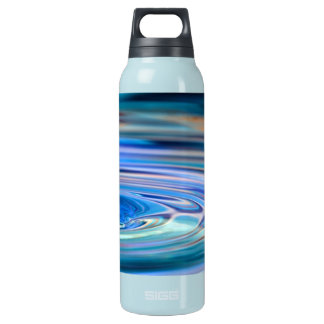 Clear Blue Water Drops Flowing Insulated Water Bottle