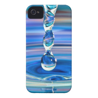 Clear Blue Water Drops Flowing iPhone 4 Case-Mate Case