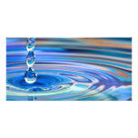 Clear Blue Water Drops Flowing Customized Photo Card
