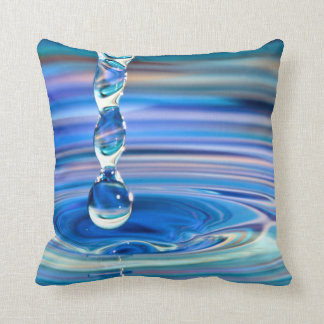 Clear Blue Water Drops Flowing Throw Pillow