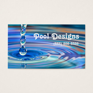 Clear Blue Water Drops Flowing Pool Design Business Card