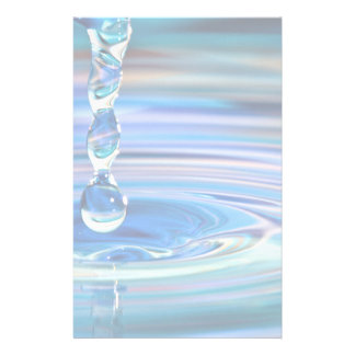 Clear Blue Water Drops Flowing Custom Stationery