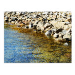 clear blue water in a stream by a rocky shore postcard