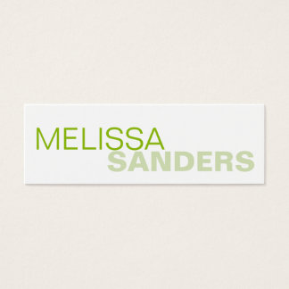 Clear bold type green two tone personal networking mini business card