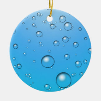 Clear Bubbles, Blue Water Ceramic Ornament
