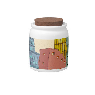 Clear Buildings Candy Jars
